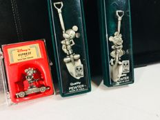 Tokyo Disneyland - 3 Pewter objects - Mickey & Minnie Mouse shovel + Minnie Mouse Train Unit