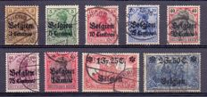Belgium 1914/1916 - Selection of occupation stamps