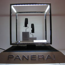 Panerai display unit for Officine Panerai watches, with LED lighting and 2 metal watch holders, plate on the base.