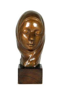 Georges Wasterlain (1889-1963) - Art Deco bronze sculpture of a young lady