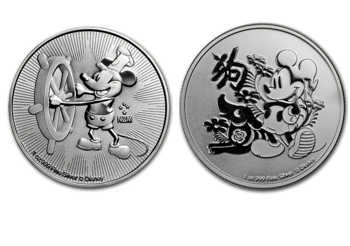 2017 Nieu 2 $ Steamboat Willie Mickey Mouse 1Oz 999 Silver Colored Coin