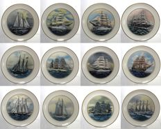 Danbury Mint - The Tall Ships Collection of 12 Decorative Porcelain Plates - Full Set