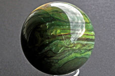 Rare intense green Agate sphere from South Africa - 8.5 cm - 890 gm