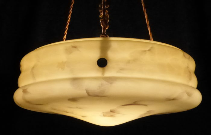 Art Deco hanging lamp, marbled opaline glass, ca. 1920, Germany