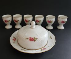 Rosenthal, Sanssouci, pink roses, 6 egg cups and round butter dish