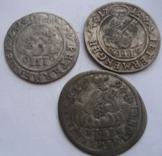 Germany, Bishopric of Trier - Very interesting lot of 3 Petermenger 1694, 1708, 1712 - silver