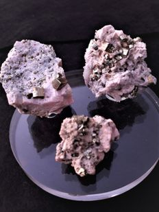 Lot of rare Greek Rhodochrosite & pyrite specimens  - 150 grm(3)