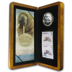 Canada - 5 Dollars 2005 'Atlantic Walrus and Calf / Coin & Stamp set' - silver