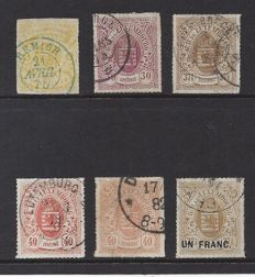 Luxembourg 1865/1875 - Selection of Coat of arms stamps - Michel 14, 21, 22, 23a, 23b and 25