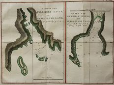 Kerguelen Islands; James Cook - Schets van Pallisers Haven, aan Kerguelens Land. & Kaart van Kersmis Haven, aan Kerguelens Land - ca. 1797