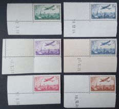 France 1936 - Airmail, Complete series aeroplane flying over Paris, dated sheet corners - Yvert n° 8/14