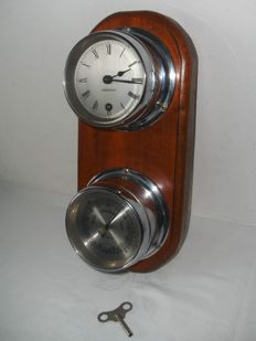 Chrome Observer ship's clock and barometer, mounted on beautiful shelf - made in Germany - 1950/60