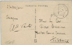 Spanish Civil War 1939 - Burgos franchise with valuable cancellation from Exchange place B