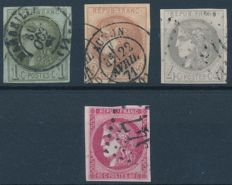 France 1870/71 - Type Bordeaux - Yvert 39C, 40B, 41B and 49