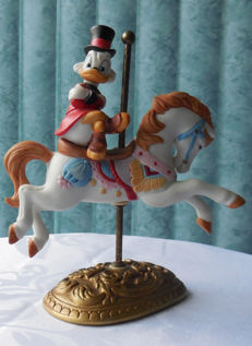 Disney - Ceramic Porcelain Figurine - New England Collectors Society - Uncle Scrooge McDuck Carousel Horse