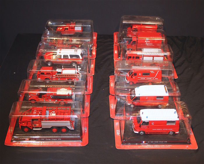 Del Prado - Scale 1/50-1/64 - Lot composed of 12 fire engines: 6 American fire engines and 6 French fire engines