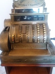 USA - National cash register - Very rare model in Lire, 100,000 made in 1895 and sold all over the world - shop cash register - belonged to a shirt shop in Turin for three generations