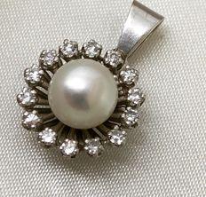 Antique pendant, round pearl, diamonds, circa 1970