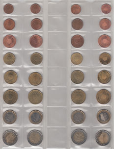 The Netherlands - year sets of euro coins 1999/2012 (14 items)