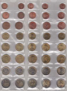 Greece - year sets of euro coins 2002/2012, with 2002 with letters (12 items)