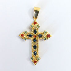 New,Hand Made Unique crucifix in yellow 18 kt. gold Cross with Sapphires, No reserve price