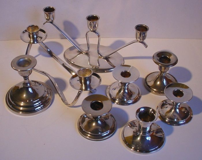 Eight silver-plated table candlesticks, Netherlands, mid 20th century