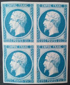 France 1862 – Napoleon III imperforated, 25c blue reprint, block of 4, with certificate – Yvert no. 15c