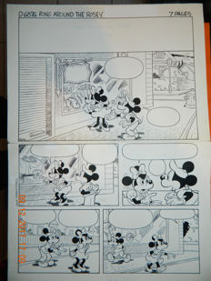 Katz/Lilley/Pujadas - Original page + Scripts & Proofs (D6876) - Mickey & Minnie Mouse - Ring Around The Rosey (1984)