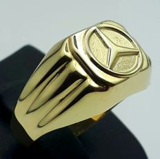 Vintage Mercedes Ring, 14 Ct/585 Yellow Gold,  Total Weight 3.07g, Size 21.00mm