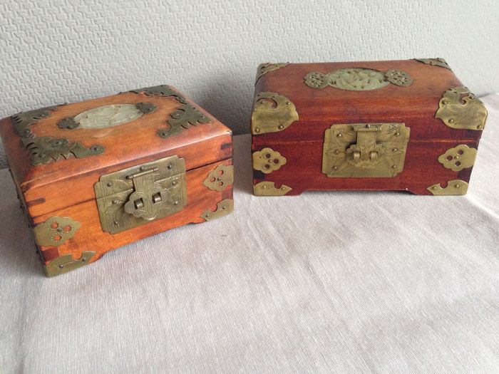 2 beautiful Chinese jewelry boxes with brass and Jade