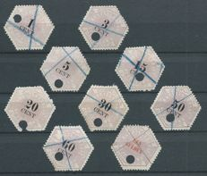 The Netherlands 1877 - selection of 9 telegram stamps - NVPH TG 1/3, TG 5/6 and TG 8/11