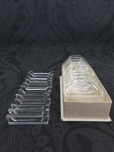 12 Crystal knife rests and 11 coasters in box