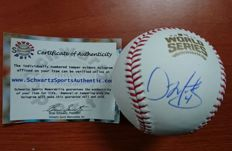 Baseball ball signed by Dave Martinez with certificate of authenticity, World series 2016