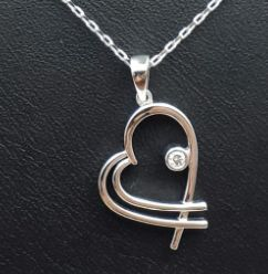 Chain & Diamond Heart Pendant, 14 Ct White Gold,  length 45 cm, Total Weight 2.95g