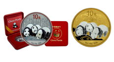 China - 2 x 10 yuan China Panda 2013 - Anitque finish + colour + panda gilded reverse 2013 - Edition of only 250 coins each - 999 silver