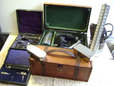 Ophthalmoscope Gowllands, Lameris stethoscope, doctor's case and other items