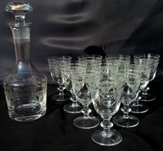 Set of twelve crystal wine / water glasses + bottle with stopper – Griffe