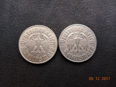"German Empire/Reich - 2 x 2 reichsmark 1933 (A + D) ""450th Anniversary of Martin Luther"""