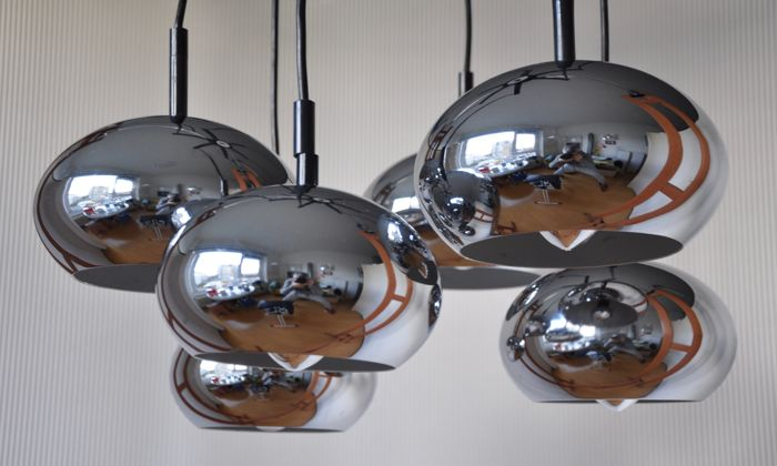Brilliant leuchten gnarrenburg chandelier with six chrome oval