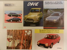 CITROEN 2CV, Dyane, MEHARI, XM, CX, GS Brochures. 1963-1993, 22 pieces.
