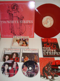"The White Stripes: Lot of 3 Rare Items: LP ""Rare A-Sides Rare B-Sides"" (Red Color vinyl) // CD + DVD  White Stripes ‎– The Document // Live DVD:  Under Blackpool Lights (Including 3 transparant White Stripes art-cards)"