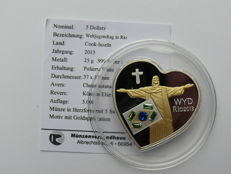 Cook Islands - 5 Dollars 2013 'World Youth Day in Rio' partially gold-plated with Swarovski stones - silver