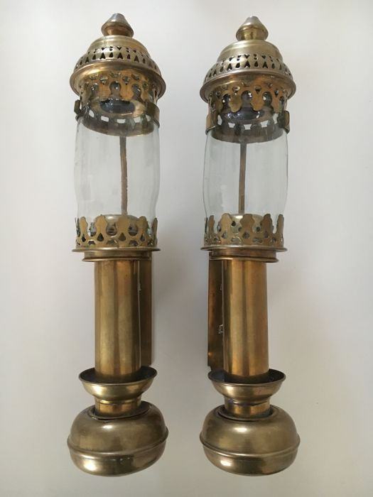 Two identical old train lights - wagon lamps - for candles