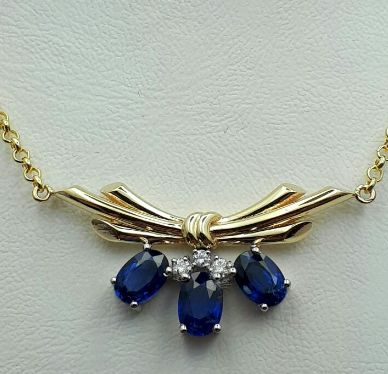 14 Ct Yellow Gold Necklace (45 cm) With Sapphire & Diamonds, Length 45cm, total weight 5.10g