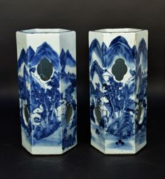 Pair of  Chinese blue and white porcelain hat stands, Ca 1900