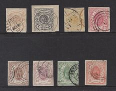 "Luxembourg 1859 - Selection of stamps from the ""National coat of arms"" series, imperforate - Michel 3/5 and 7/11"