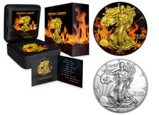 USA - 2 x $1 - 999 silver - silver coins - American Burning Silver Eagle 2016 - Black ruthenium + gilded + colour - Edition of 1000 coins - With box & certificate