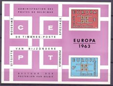 "Belgium 1962/1964 - Composition of 3 luxurious sheets theme ""Europe Cept"" LX38, LX42, LX45"
