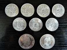 Netherlands - 2½ and 10 guilders 1959/1973 Juliana (9 pieces) - silver