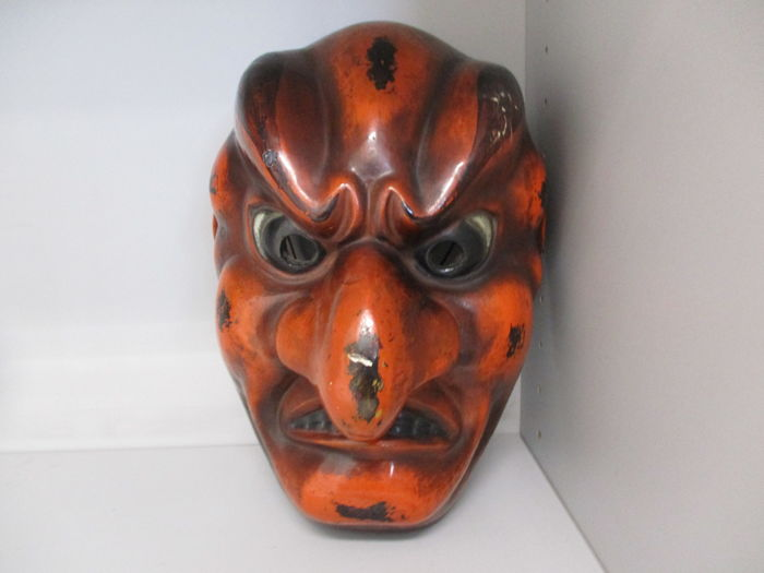 Polychrome very large mask of Konron (or Kuron) of Gigaku performance - with craftstman's seal - Japan - Early 20th century